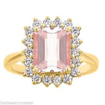 MORGANITE & DIAMOND HALO ENGAGEMENT RING EMERALD CUT 10x8mm 14KT YELLOW ... - €1.571,62 EUR