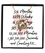 44th Anniversary Message Card Necklace, 44 Year and Counting Anniversary  - £21.78 GBP