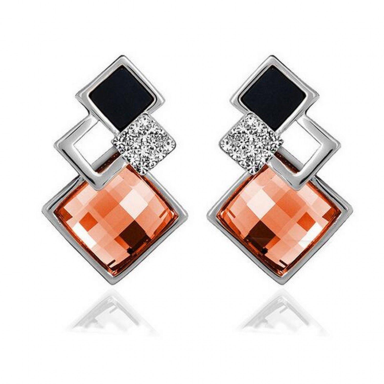 New Popular Crystal Earrings Fashion Geometric Rhinestone Gemstone Studs 2018