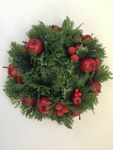 Hallmark Christmas Wreath Candle Ring Apples Holly Berries Centerpiece N... - $24.99