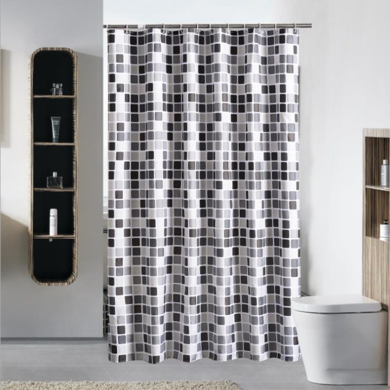 Proof shower curtain stylish black and white gray squares pattern high quality thickening shower