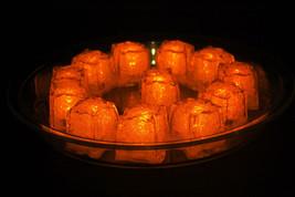 Set of 12 Litecubes Jewel Color Tinted Amber Orange Light up LED Ice Cubes - $24.95