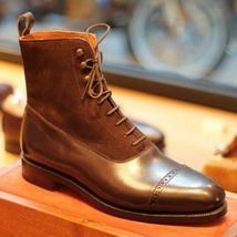 Handmade Men's Brown Leather & Suede High Ankle Lace Up Boots image 3