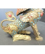 Vintage Chinese Brass Oriental Foo Dog Shishi Lion Snuff Bottle - $166.24