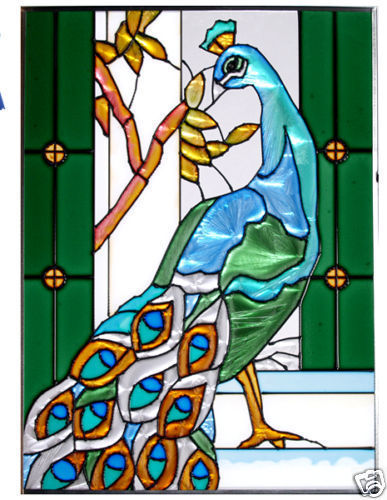 10x14 Stained Art Glass PEACOCK Tropical Suncatcher Panel