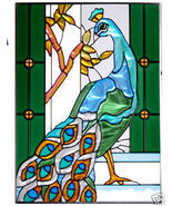 10x14 Stained Art Glass PEACOCK Tropical Suncat... - $42.00