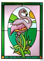 10x14 Stained Art Glass FLAMINGO Tropical Suncatcher Panel - $50.00