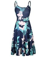 KILIG Women's Floral Print Sundress Adjustable Strappy Sleeveless Summer... - $20.53