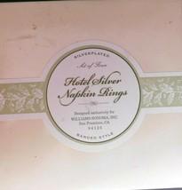 Four Round SILVER PLATED HOTEL SILVER NAPKIN RINGS Williams Sonoma Origi... - $19.77