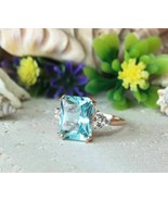 2.70Ct Radiant Cut Aquamarine Engagement Wedding Rings 14K Rose Gold Finish - $86.89