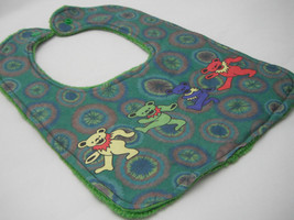 Reversible Baby Bib - Green Tie Dye Grateful Dead Dancing Jerry Bears Print - $12.99