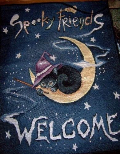 Spooky Friends Welcome Halloween Banner Witch Cat NEW