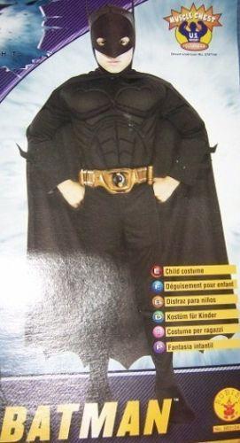Batman Dark Knight Boys Costume 8-10 + Safety Light NEW