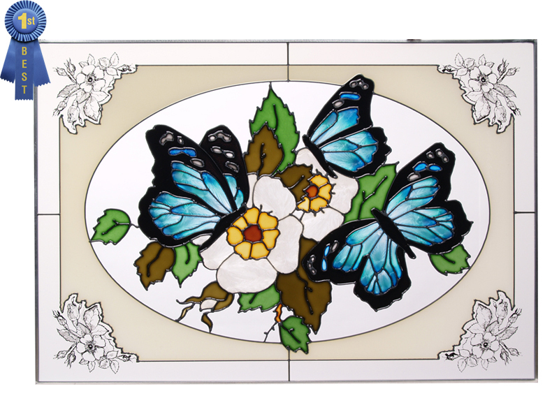 Stained glass butterflies blue in oval horizontal  v 228 br