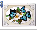 Stained glass butterflies blue in oval horizontal  v 228 br thumb155 crop