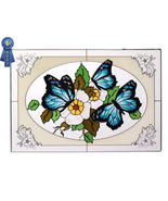 20x14 Stained Art Glass Blue BUTTERFLY Flowers ... - $62.00