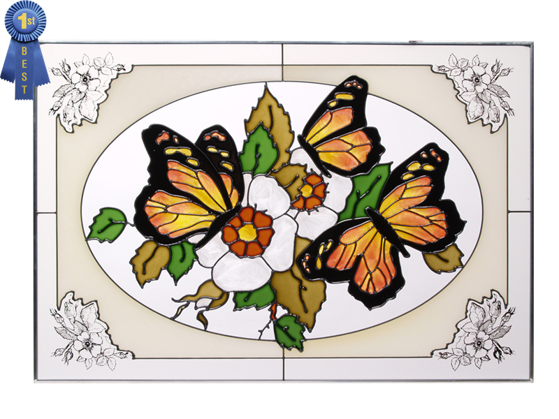 20x14 Stained Art Glass MONARCH BUTTERFLY Flowers Floral Suncatcher