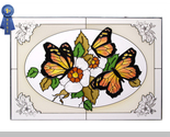 Stained glass butterflies yellow in oval 20x14 horizontal  v 227 br thumb155 crop