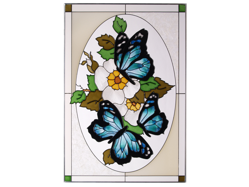Stained glass butterflies blue in oval vertical  v 225