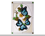 Stained glass butterflies blue in oval vertical  v 225 thumb155 crop