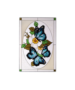 14x20 Stained Art Glass BLUE BUTTERFLY Flowers Floral Suncatcher Panel  - $75.00