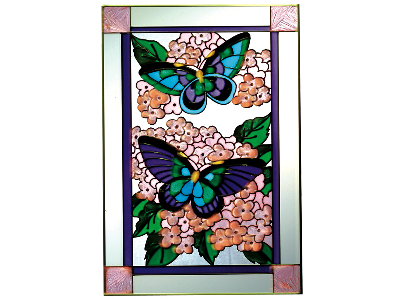 Stained glass butterflies on hydrangea 14x20 vertical  v 592