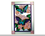 Stained glass butterflies on hydrangea 14x20 vertical  v 592 thumb155 crop