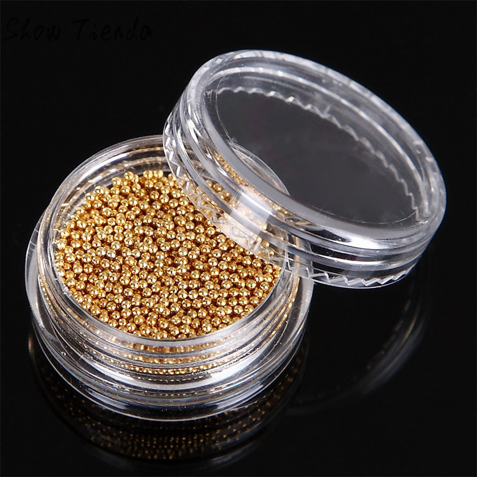 BAHYHAQ - 5g/Box Gold And Silver Nail Glitter Nail Beads Manicure Nail Art