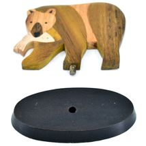 Northwoods Handmade Wooden Parquetry Bear with Fish Sculpture Figurine image 5