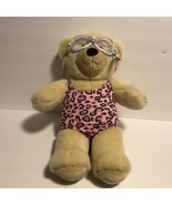 """Build A Bear Cream Colored Bear in Swimsuit & Goggles 14"""" tall Pink Anim... - $9.94"""