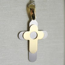 18K WHITE AND YELLOW GOLD CROSS STYLIZED LUSTER AND SATIN  MADE IN ITALY... - $205.00