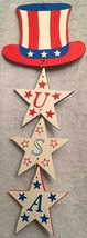 Hand Crafted Wood USA Holiday, Memorial Day, 4th of July, Uncle Sam Welc... - $4.99