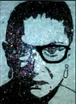 Justice Ruth Bader Ginsburg black/white silhouette painting made/broken ... - $30.00