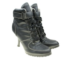 SODA Womens Size 6 Black Faux Leather Lace-up Chunky Heel Granny Boots - $19.79