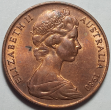 1980 Australia Canberra 2 Cent Elizabeth II - Choice Circulated Coin - $4.95