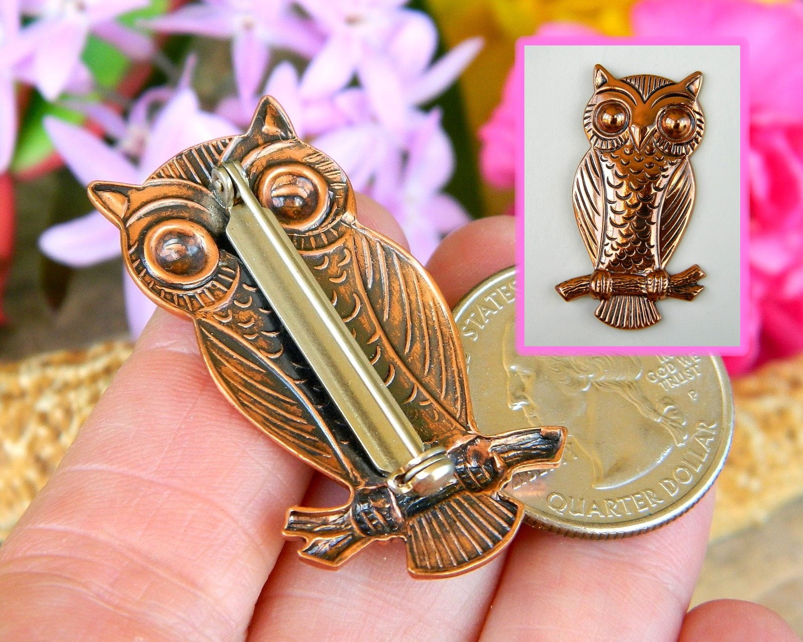 Vintage Solid Copper Owl Tree Branch Brooch Pin Bell Trading Post USA image 7