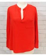 Banana Republic Knit Top V-neck Long Sleeve 100% Linen Orange/red Petite... - $24.74