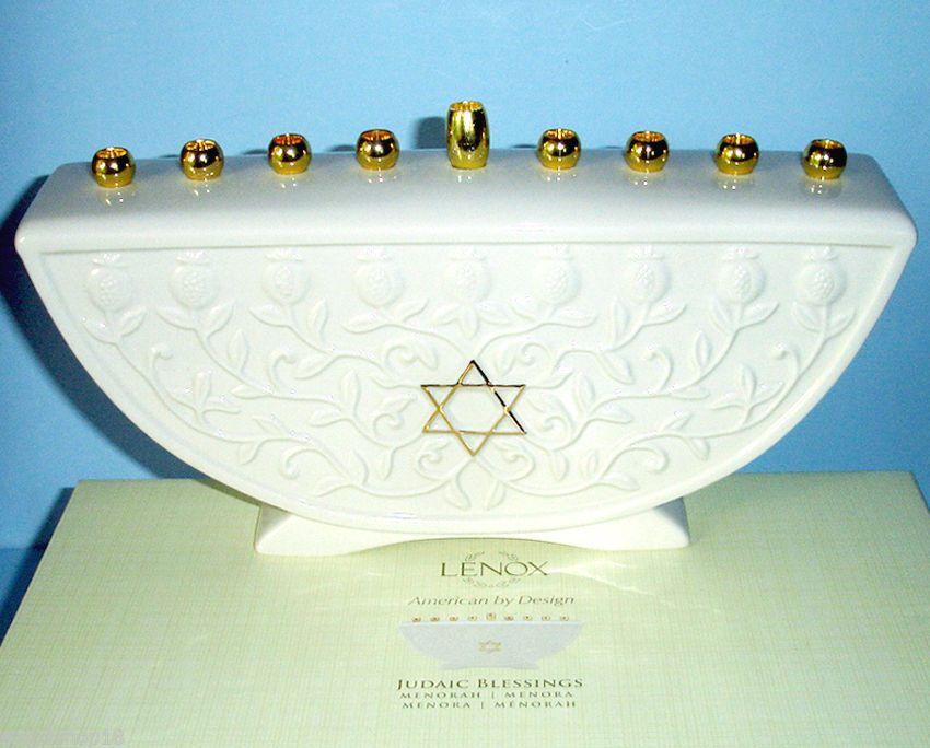 Lenox Judaic Blessings MENORAH Candle holder Embossed Vine & Gold Trim New