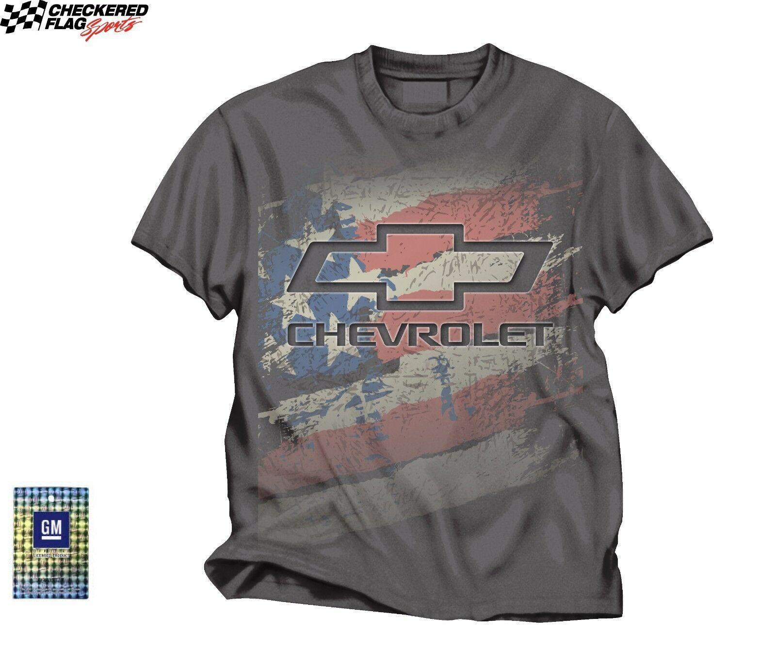 Chevrolet American Flag Men's Gray Tee Checkered Flag Sports -