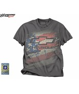 Chevrolet American Flag Men's Gray Tee Checkered Flag Sports - - $22.50
