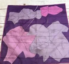 "Vintage Vera Neumann Silk Scarf 21"" Square Mod Pink Purple Leaves - $9.85"
