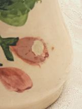 Antique Hand Made & Painted Sculpted Rose on a Ceramic Vase, Made In Italy image 11