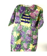 Women's VTG Handmade Floral Iris Mumu House Dress Sz S/M Boho Oriental  - $39.59