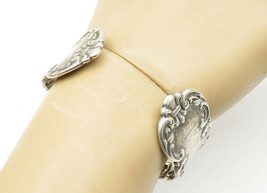 925 Sterling Silver - Vintage Ornate Floral Detail Spoon Cuff Bracelet -... - $144.83