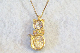 CZ Kitty Cat Pendant Cubic Zirconia Necklace Gold Plated Figural Sparkle Signed image 5