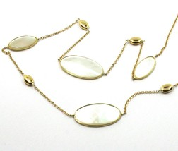 """18K YELLOW GOLD NECKLACE, OVAL MOTHER OF PEARL ALTERNATE OVALS, 17.3"""", 44cm image 2"""