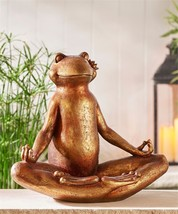 "14"" Tranquility Yoga Frog Design Bird Feeder Lotus Position Antique Brown"