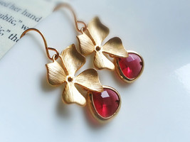 Gold Orchid Pink Gemstone Earrings Gold Orchid Pink Glass Gem Earrings B... - $42.00