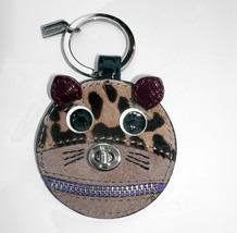 Coach Cat Leather Suede Haircalf Mixed Materials Key Fob F62982 Keychain Charm - $38.00