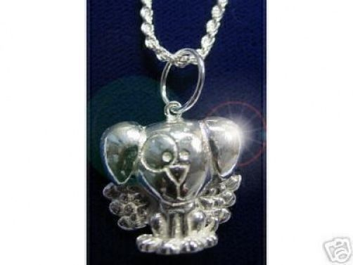 NICE Guardian Angel Dog Puppy pendant charm Silver Jewelry